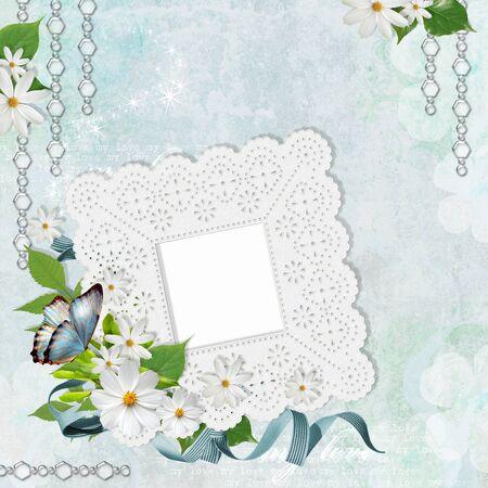 Lace Framework for photo or congratulation with chamomile photo