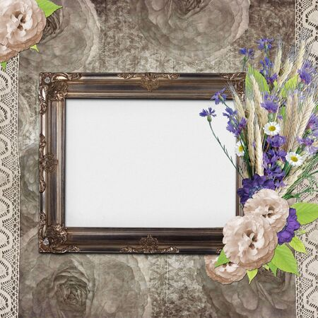 Vintage frame on grange roses background with lace and flowers photo