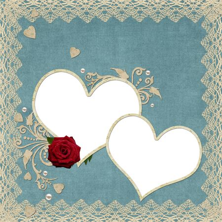 vintage paper hearts frame with pearls and lace photo