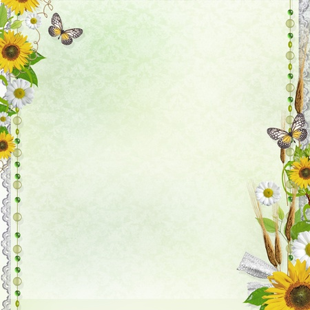 animal border: Summer background with frame and flowers  Stock Photo