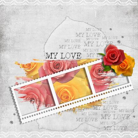 retro background with stamp-frame, diamonds, text love and pastel roses  photo