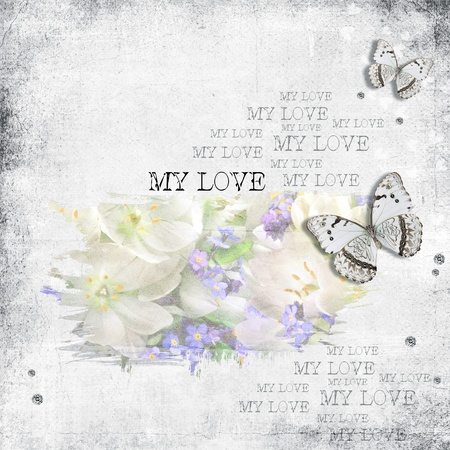 retro background with  diamonds, text love, flowers and butterfly photo
