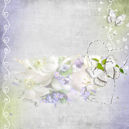 retro background with  diamonds,  flowers and butterfly photo