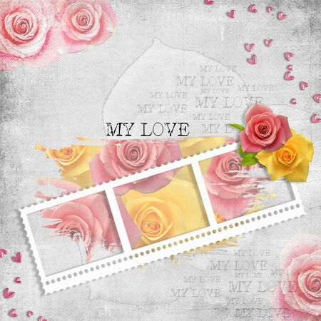 retro background with stamp-frame, hearts, text love and pastel roses  photo