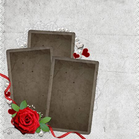 Vintage elegant  frame with rose, lace and pearls Stock Photo - 9768610