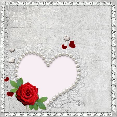 Vintage elegant heart frame with rose,  lace and pearls  photo