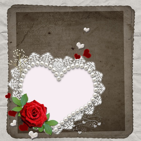 Vintage elegant heart frame with red  rose,  lace and pearls  photo