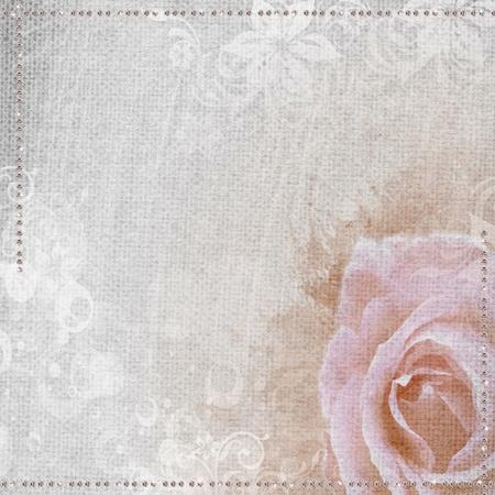 Grunge romantische achtergrond met roos en diamanten