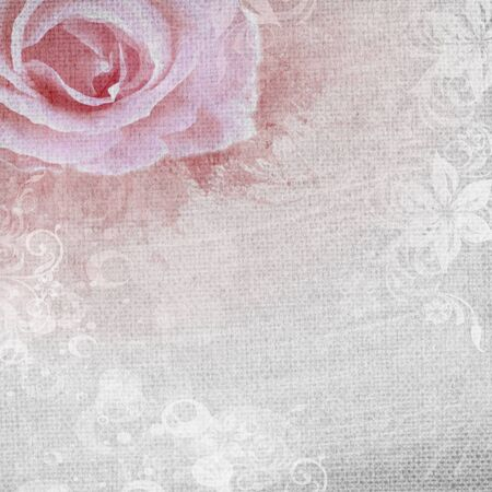 grunge romantic background with rose and diamonds photo