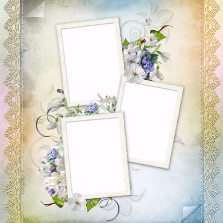 Beautiful frame for three photos  photo