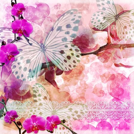 Butterflies and orchids flowers  pink background  with lace ( 1 of set) photo