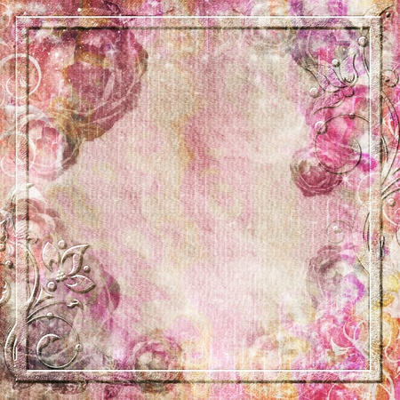 Vintage background in pink colors with roses  photo