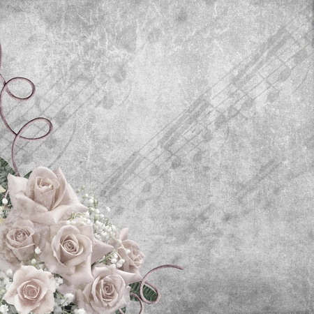 Wedding Day background with roses and notes  photo
