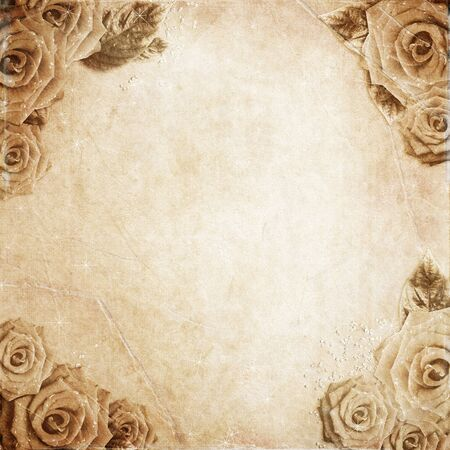 fragmentary: old grunge background with roses
