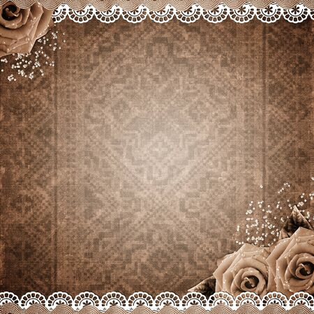 fragmentary: old grunge background with roses, lace, ribbon