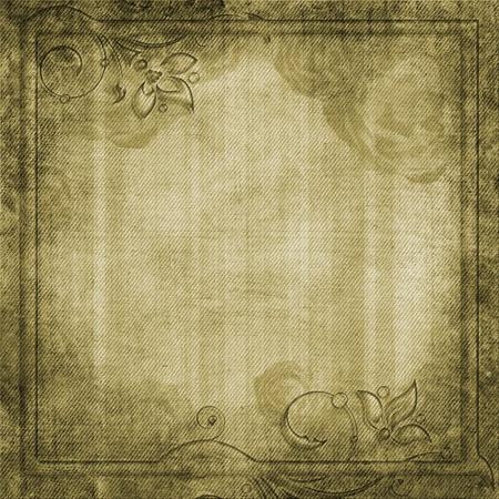 scrool: Grunge yellow - green background with swirl border