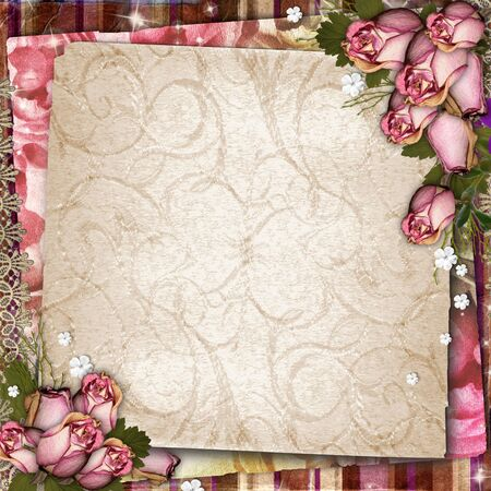 Pink and purple vintage  background with dried roses photo