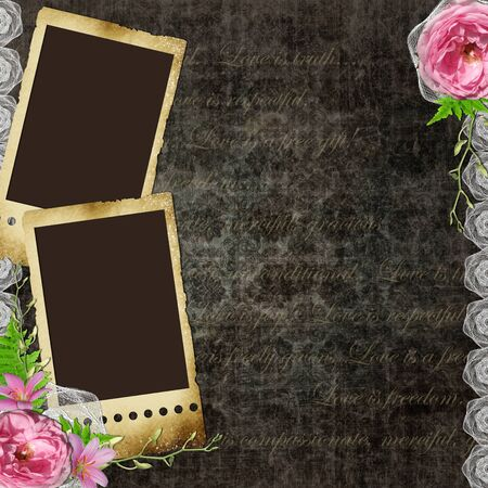 Vintage background with frames for photos and  flowers photo