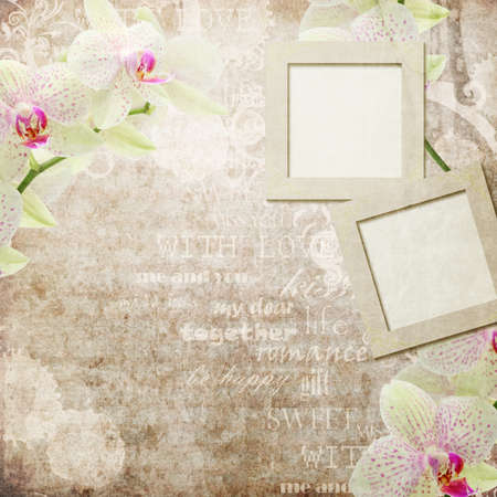 vintage card with orchids in pink and beige colors  photo