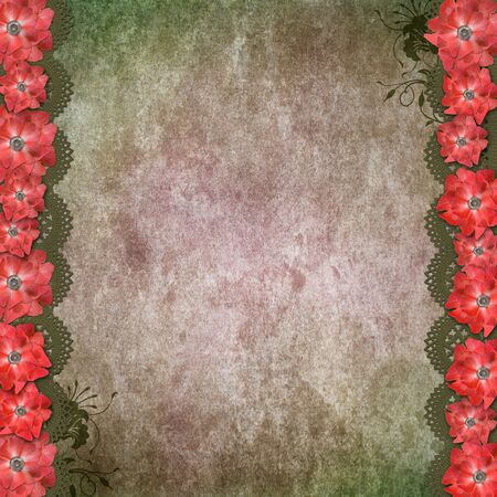 Vintage Green Background With Red Flowers, Lace  photo