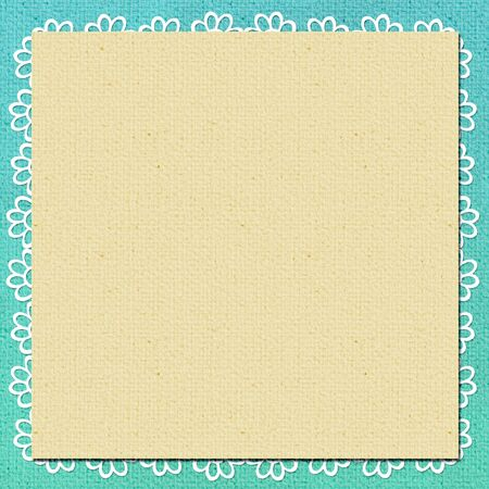 postcard back: background in scrapbook style in beige, cyan colors
