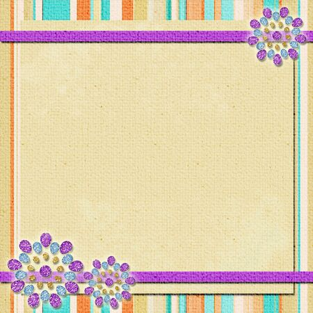 background   in scrapbook style in beige, cyan, orange, violet photo