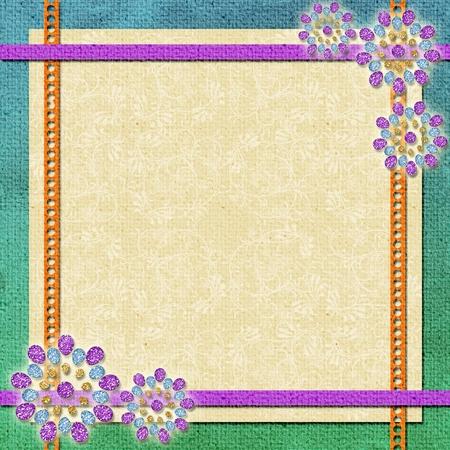 background   in scrapbook style in beige, cyan, orange, violet photo