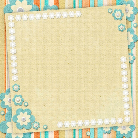 Kids card  in scrapbook style in beige, cyan, orange Stock Photo - 9862422