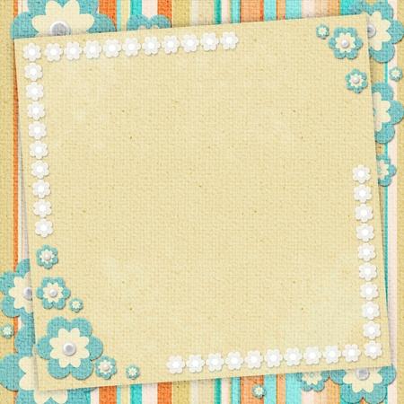 Kids card in scrapbook style in beige, cyan, orange
