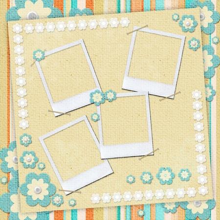 Kids card  in scrapbook style in beige, cyan, orange photo