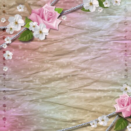 Paper background with  flowers photo