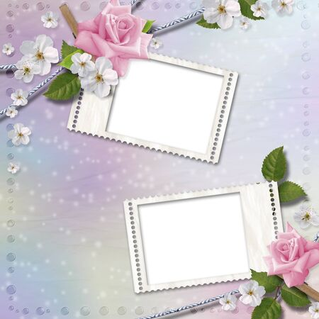 Paper background with stamp-frames and flowers photo