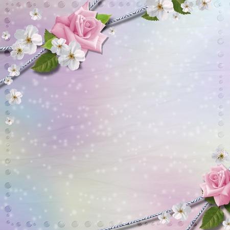 birthday flowers: Paper achtergrond met bloemen