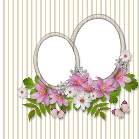 Abstract striped background with frame and beautiful bouquet  photo