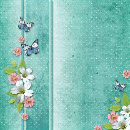 tarjeta de felicitación para vacaciones con flores y mariposas  Foto de archivo