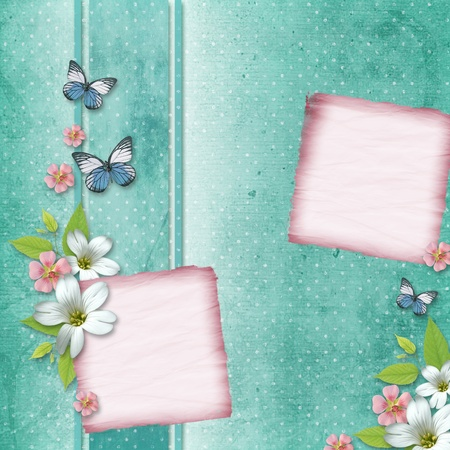 card with flowers and butterfly for congratulation to holiday  photo