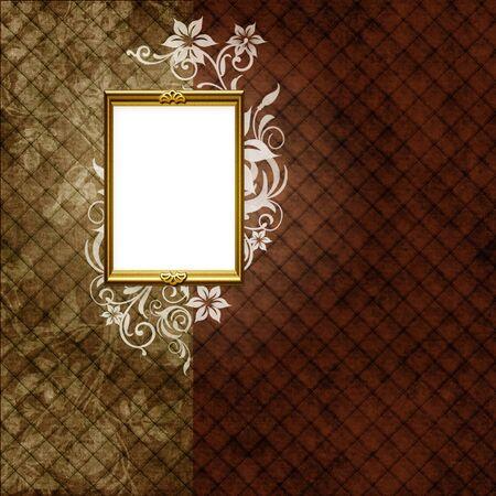 Golden frame over vintage striped wallpaper and floral elements photo