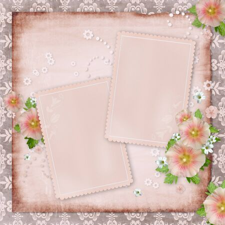 Vintage card   and pink mallow on retro background photo
