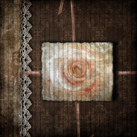 scrapbook cover: Marr�n cubierta de un �lbum con rose
