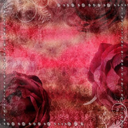 romantic vintage background with  dry rose and drops photo