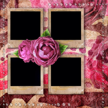 romantic vintage background with frames, dry rose and drops photo