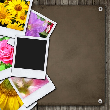 black picture frame: Photos on the wood desk