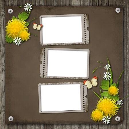 Three Old paper frame over an old wood background  photo