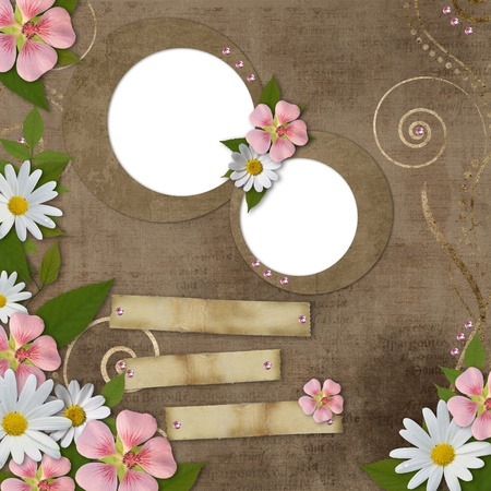 vintage background with daisy and pink flowers photo