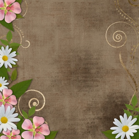 wedding photo album:  vintage background with daisy and pink flowers