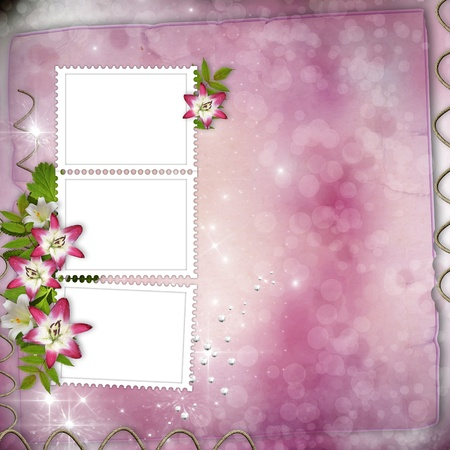 Wedding Day Card with pink lily and stamp frames photo