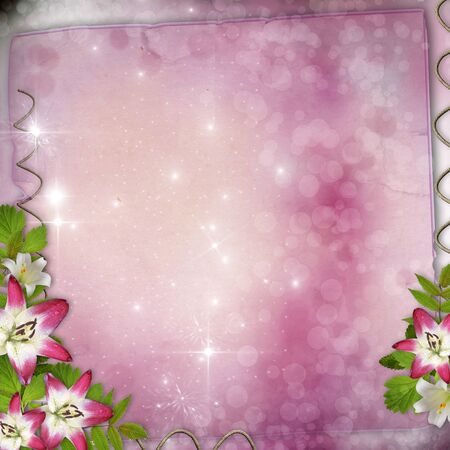 wedding photo frame: Wedding Day Card with pink lily and stamp frames