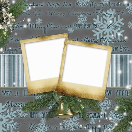 scratch card: Frameworks for photos on a Christmas background