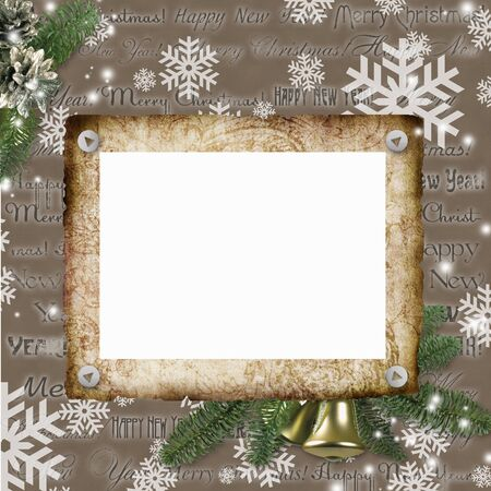 Frameworks for photos on a Christmas background Stock Photo - 10134578