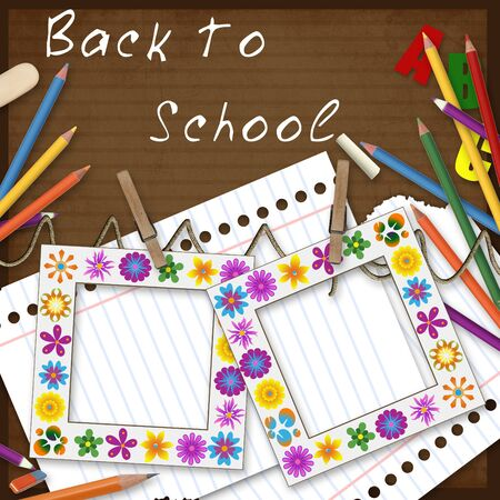 writing pad: two frames, paper and pencils, back to school background